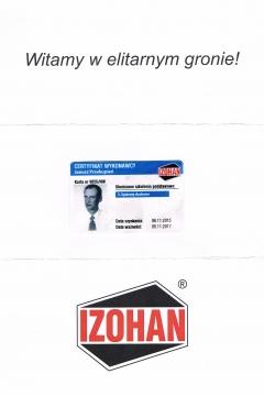 IZOHAN - Certyfikat Wykonawcy